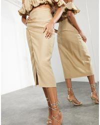 ASOS Split Side Midi Skirt Co-ord - Natural