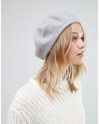 Warehouse - Wool Beret Hat - Grey - Lyst