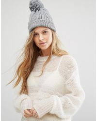 Warehouse - Cable Knit Beanie Hat - Grey - Lyst