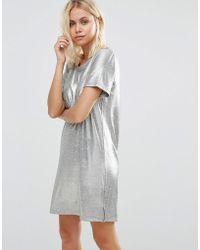 Vila Metallic T-shirt Dress