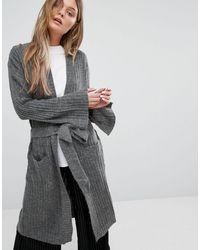 ADPT Dpt Driven Long Ribbed Knit Tie Waist Cardigan - Gray