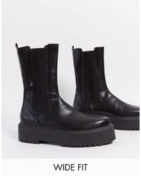 ASOS - Черные Ботинки Челси Для Широкой Стопы На Массивной Подошве - Lyst