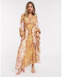 Bardot Long Sleeve Frill Maxi Dress - Multicolour
