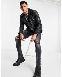 TOPMAN Blouson en cuir style motard - Noir