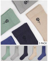 New Look Набор Из 5 Пар Носков Разных Цветов С Вышивкой -разноцветный - Многоцветный