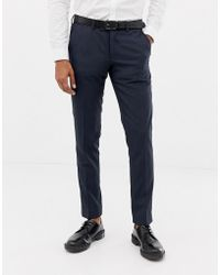 Esprit - Slim Fit Suit Trousers In Blue Twisted Yarn - Lyst