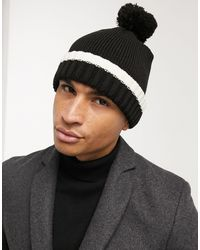 TOPMAN Bobble Hat With Geometric Knit - White