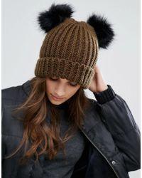 New Look - Double Faux Fur Beanie Hat - Lyst