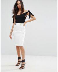 Lipsy Faux Leather Trim Pencil Skirt With Gold Detail - White