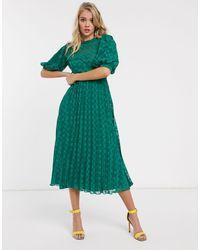 ASOS Vestito midi accollato verde bosco plumetis a pieghe chevron con maniche a palloncino