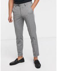 Jack & Jones Premium - Pantalon élégant à fines rayures - Gris