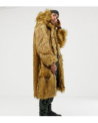 ASOS X Laquan Smith Oversized Hooded Faux Fur Coat - Blue