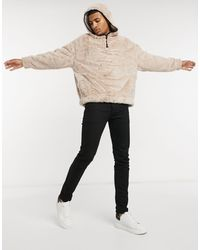 ASOS Oversized-худи Кремового Бежевого Цвета Из Искусственного Меха С Высоким Воротником И Окантовкой - Естественный