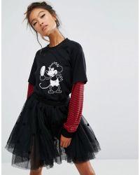 Lazy Oaf X Disney Mickey Mirror Long Sleeve T-shirt - Black