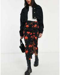 Miss Selfridge Midi Skirt - Black