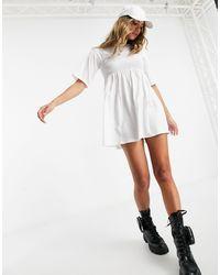 Fashionkilla Oversized T-shirt Dress With Sheering Detail - White
