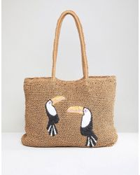Chateau Toucan Print Straw Beach Tote - Natural