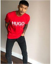 HUGO Красная Футболка С Логотипом Dolive-u3 - Красный