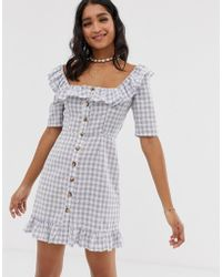d36f8bcbf38 ASOS - Square Neck Gingham Mini Dress With Button Through And Pephem - Lyst