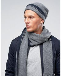 e290b7f5efb French Connection Ribbed Beanie Hat in Black for Men - Lyst
