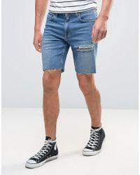 ASOS - Denim Shorts In Slim Mid Blue With Thigh Rip - Lyst