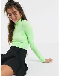 Monki Java Roll Neck Long Sleeve Jersey Top - Green
