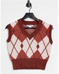 Glamorous Chaleco corto color óxido con diseño - Rojo