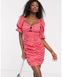 C/meo Collective Early On Puff Sleeve Mini Dress - Pink