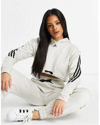 adidas Originals Серый Укороченный Худи С Тремя Полосками Adidas Training