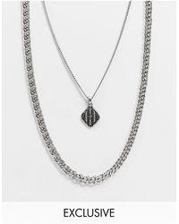 Reclaimed (vintage) - Многорядное Серебристое Ожерелье Inspired-серебристый - Lyst