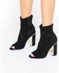 Oasis Peep Toe Gold Heeled Ankle Boot - Black