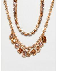 Stradivarius - Diamante And Chain Necklaces - Lyst