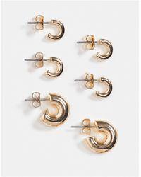 Weekday - Набор Из 3 Пар Золотистых Серег-колец Bold-золотистый - Lyst