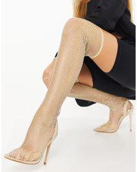 Public Desire Dealbreaker Fishnet Silleto Over The Knee Sock Boots - Natural