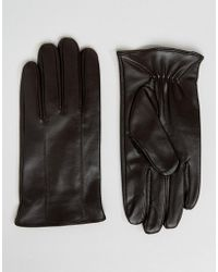 Barneys Originals - Barneys Leather Gloves In Brown - Lyst