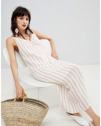 Mango - Stripe Dress In Beige And Stripe - Lyst
