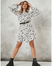 Missguided Long Sleeve Skater Dress With Frill Neck - White