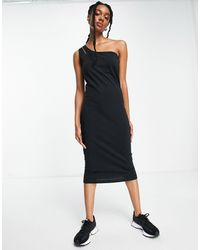ALIGNE Sustainable One Shoulder Asymmetric Midi Dress - Black
