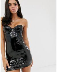 ASOS Vinyl Underwire Slip Dress - Black