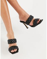 London Rebel Quilted Mules - Black