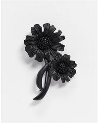ASOS Брошь В Виде Цветов Матового Черного Цвета - Черный