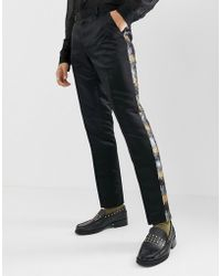 Skinny Suit Trousers In Grey And Gold Sequins