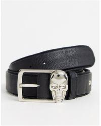 Bolongaro Trevor – Ledergürtel mit Totenkopfdesign - Schwarz
