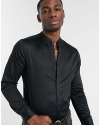 ASOS Slim Fit Sateen Shirt With Mandarin Collar - Black