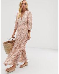 Y.A.S Aangerimpelde Maxi-jurk Met Bloemenprint - Roze