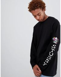 Stussy - Long Sleeve T-shirt With Hippie Skull Sleeve Print In Black - Lyst