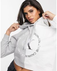 Calvin Klein Худи Укороченного Кроя С Логотипом -мульти - Серый