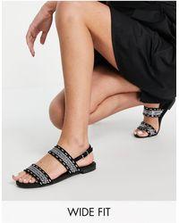 Miss Kg Wide Fit Detroit Flat Sandals - Black