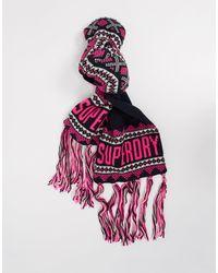 Superdry Темно-синий Шарф С Розовым Логотипом И Узором Фэйр-айл