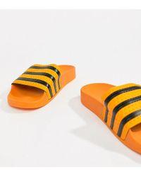 36fcac79397bc Lyst - adidas Originals Originals Adilette Black   White Stripe ...